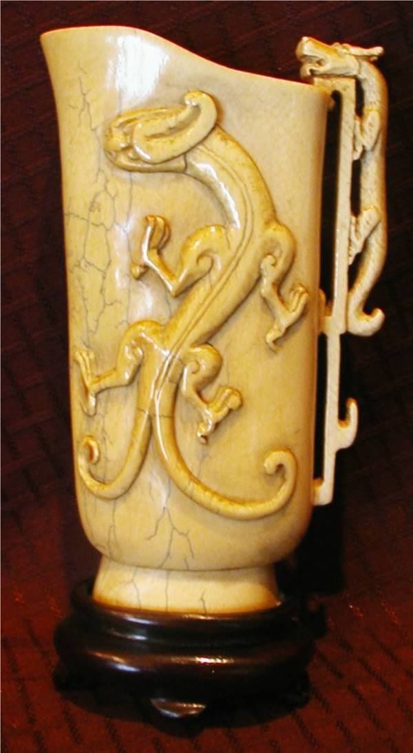 "1020: Vintage Ivory Vase on Rosewood Base 6 1/2""High"