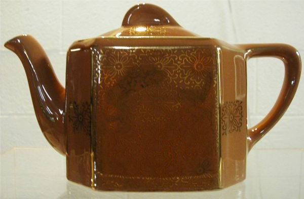1017: Hall Tea Pot, Mauve with Gold Ornate Design #104,