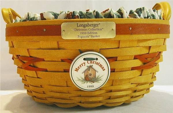 2011:Longaberger 1999 Popcorn Christmas Basket P/L Tie