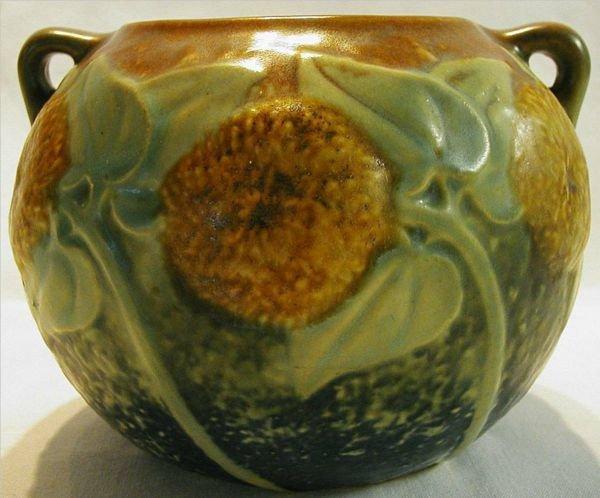 2005: Roseville Pottery Sunflower Bowl #208-5, Blue Bot