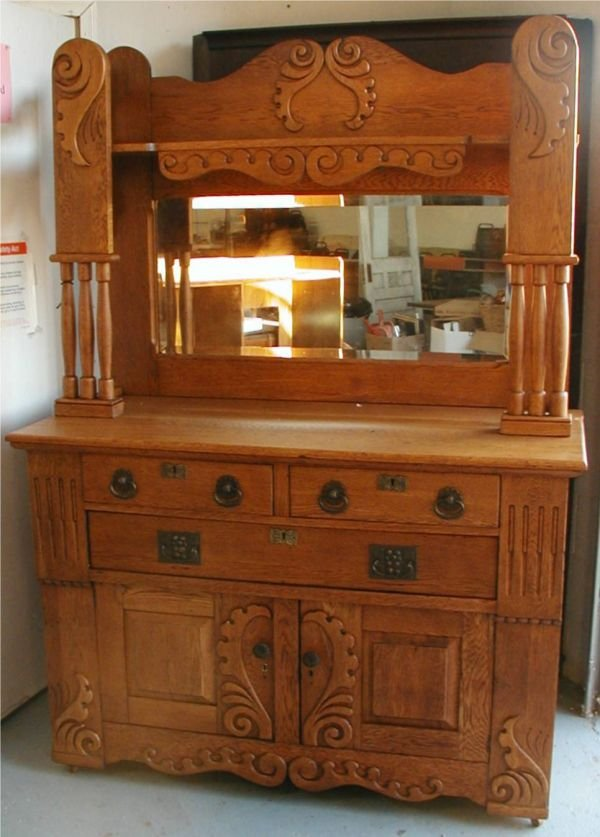 2024: Quartersawn Oak Applied Carving Beveled Mirror Si
