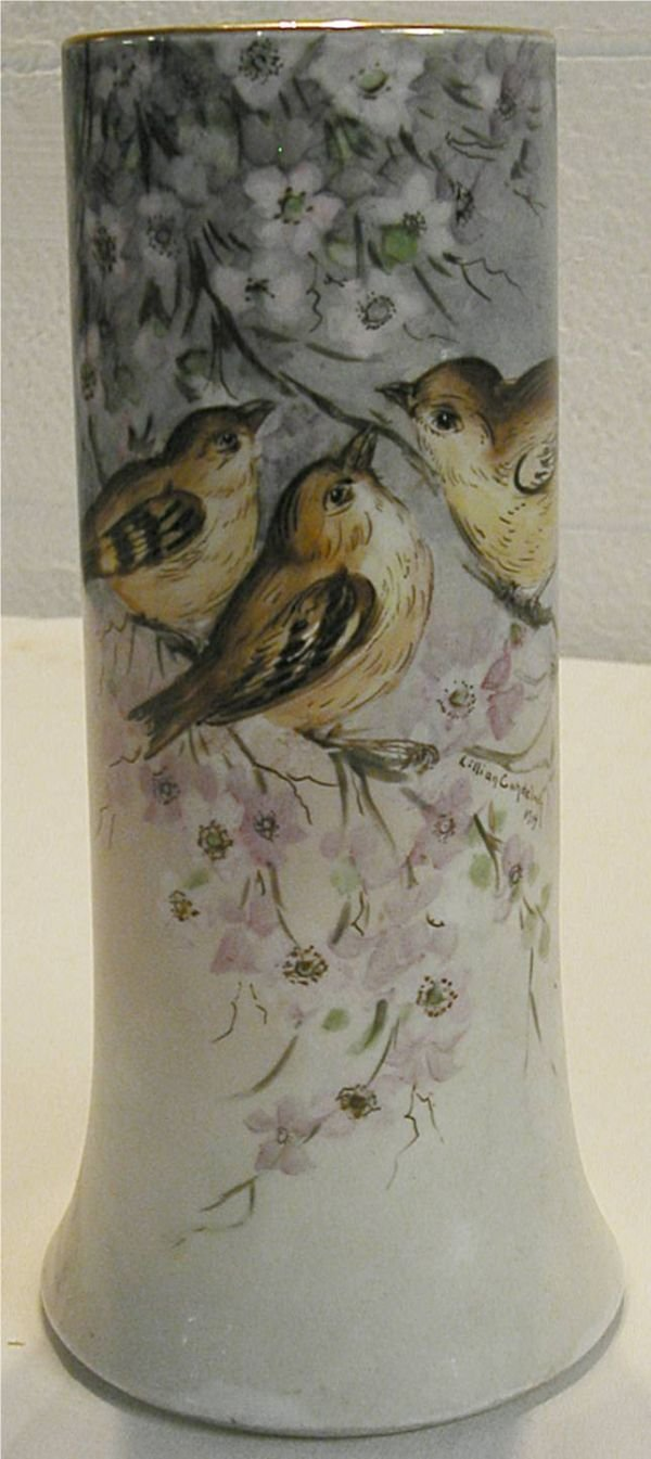 2107: Limoge Hand Painted Bird Design Vase, Artist Sign