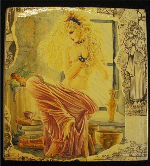 3009: Girl in the Window Wooden Plaque by Artist Dennis