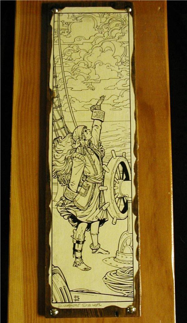 3019: Wooden Plaque by Artist Dennis Crabapple-Cramer a