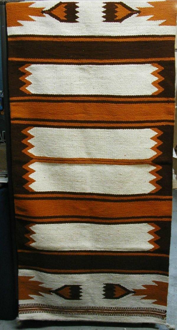 4006: Indian Rug, 31 W x 67 Brown, Tan & Cream Color