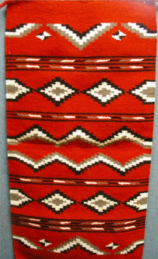 4009: Indian Rug, 20 W x 40 Red, White & Black Colors