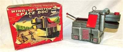 KO Japan Tin Windup Space Dog Robot. SCARCE Silver