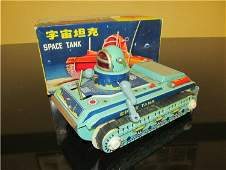 1960s RED CHINA Battery Op SPACE TANK w/Box