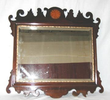 1003: Chippendale Mirror w/ Inlaid Crest
