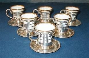 Six American Belleek Demitasse Cups