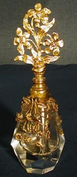 1008: Crystal  Perfume Bottle w/Brass Floral Top