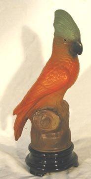 1018: Phoenix Glass Parrot Lamp