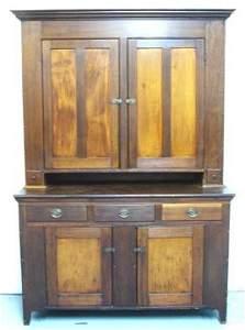 1037: Early 1800's Primitive Stepback Cupboard