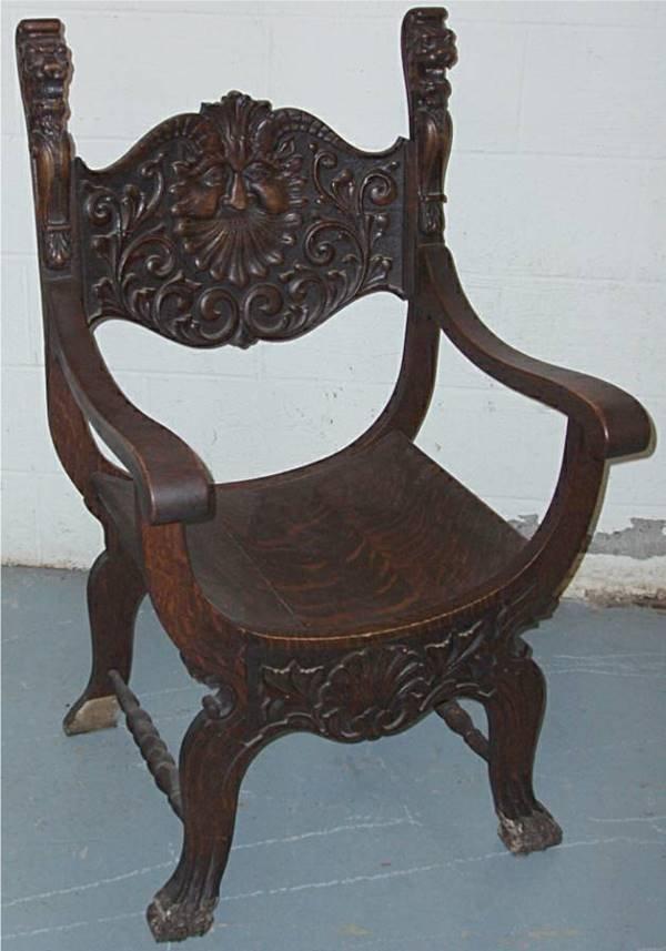 1010: Quatersawn Oak Carved Lion Finial Arm Chair