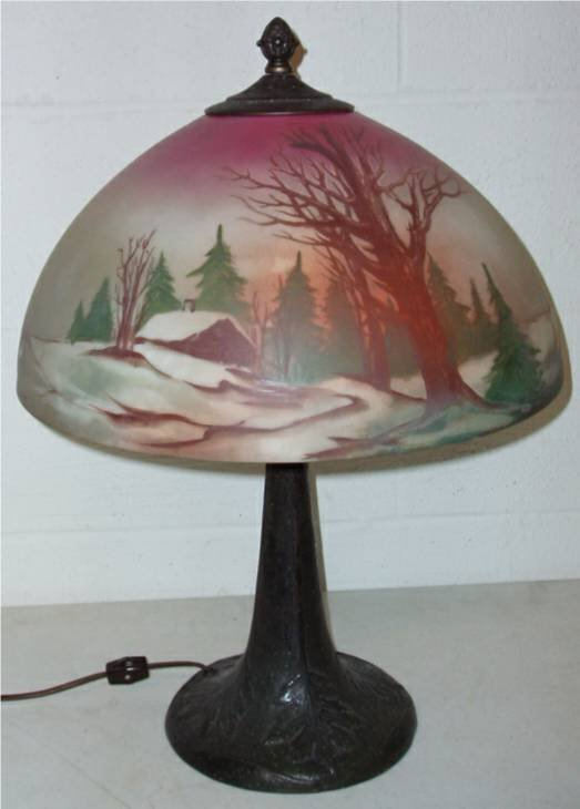 1012: Pittsburg Painted Shaded Lamp, Unsigned