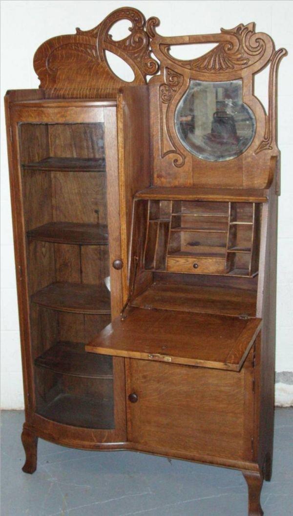 1135: Quatersawn Oak Side by Side Secretarial with Curv