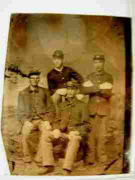 Tin Type of Four Indian War Soldiers