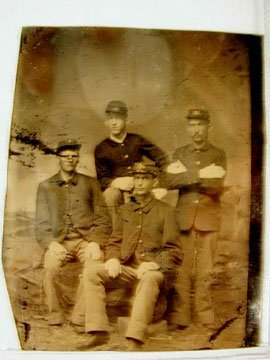 3007: Tin Type of Four Indian War Soldiers