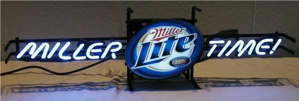 2001: Neon Miller Lite Miller Time Bar Sign