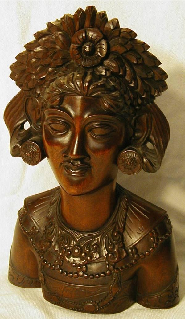 2004: Teakwood Lady Bust 11 H x 7 W x 4 D