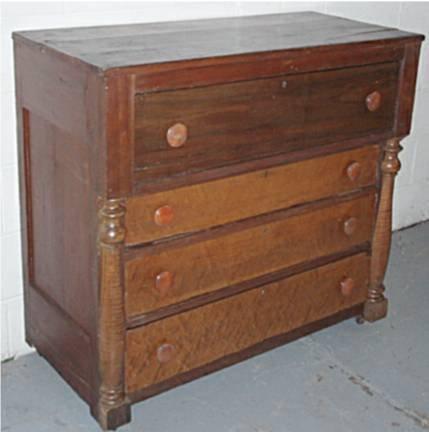 2015: 1800's Four Drawer Primitive Stepdrawer Dresser