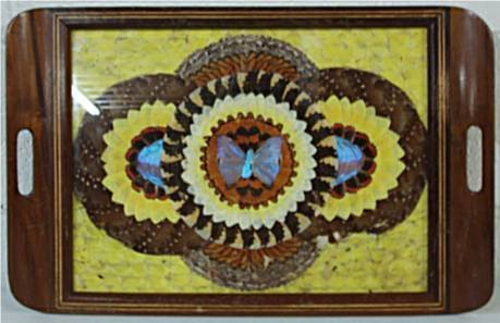2020: Butterfly Serving Tray, Inlaid, with Handles