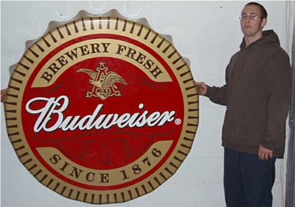 2058: Five Foot Diameter Budweiser Bottle Cap Sign