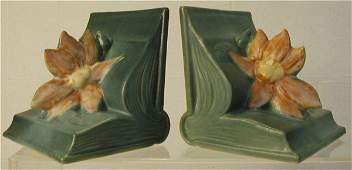 2139: Roseville Clematis Bookends #14,Pair, Chip on Fl