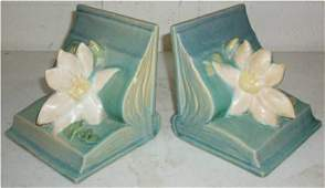 2185: Roseville Peony #14 Bookends, Chips on Base, open