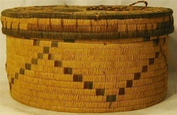 "3022: Grass Basket with Lid, 7"" Dia. 4 H, Excellent Co"