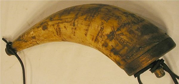 3031: 1700's Powder Horn 11 1/2 Engraved Map Horn of N