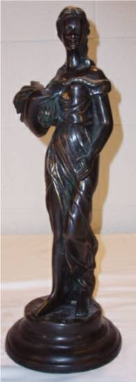 """1015: Bronze Statue of Lady Carrying Grain, 16""""H x 5 1/"""
