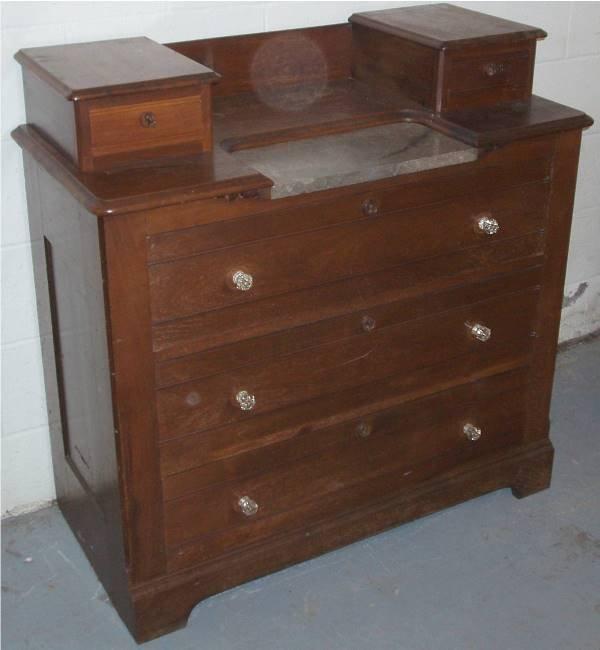 1024: 1800's Victorian Walnut Three Dr. Dresser w/Marbl