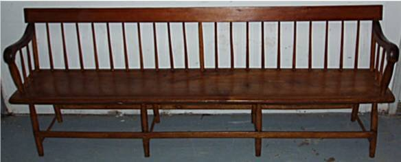 1120: 1700's/1800's Solid Plank Bottom Deacon's Bench