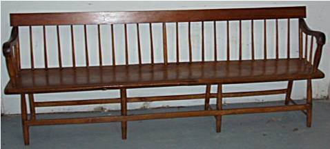 1120: 1700's/1800's Solid Plank Bottom Deacon's Bench - 2