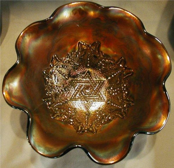 1014: Carnival Glass Star of David Pattern Amythest Foo