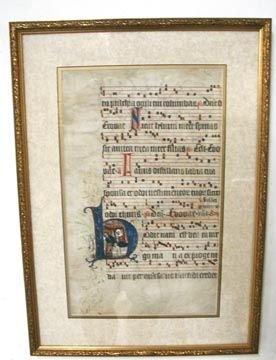 1016: Framed Gold 1600's/1700's Musical Manuscript Ha