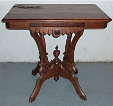 2006: 1800's Victorian Eastlake Walnut Parlor Table