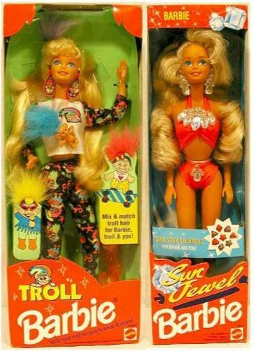 3007: 1992 Troll Barbie & Sun Jewel Barbie MIB