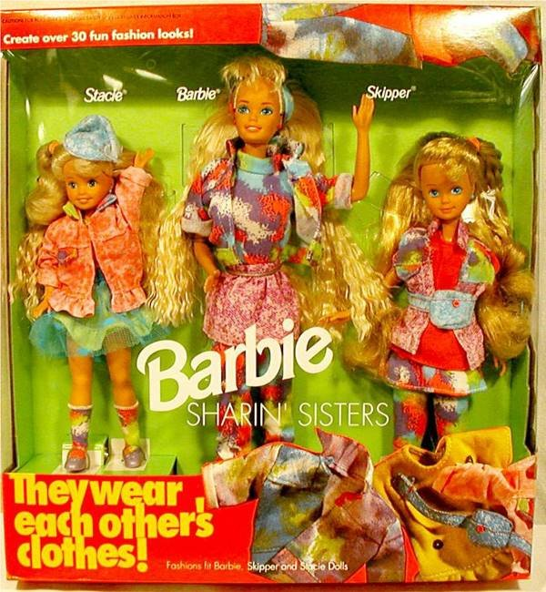3019: Sharin' Sisters Gift Set~3 Doll..Barbie,Skipper,S