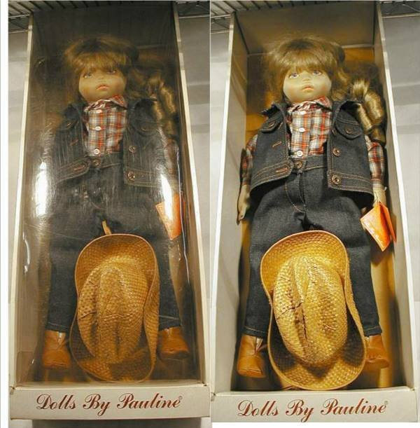 3024: Dolls by Pauline Cloth Cowgirl Doll MIB, 21""