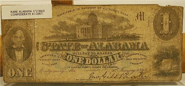 4009: CSA Alabama $1 Bill Certificate 1863