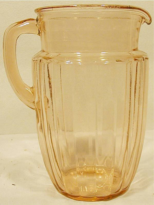 "5011: Pink Depression Glass Pitcher, 8 1/2""H x 5"" Dia."
