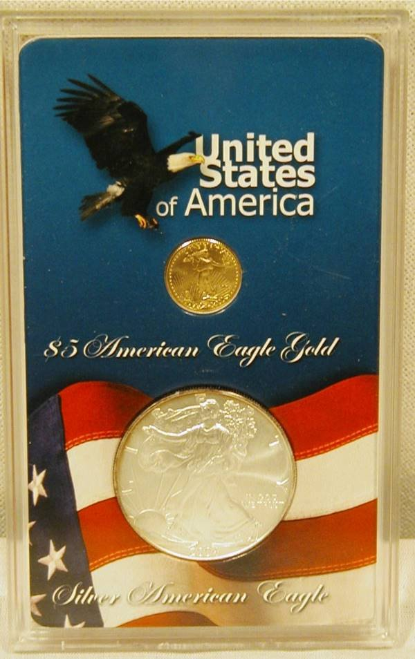5022: 2004 $5 Gold Piece and Silver Dollar in Display C