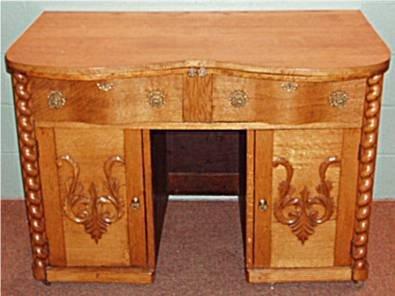 1019: Quartersawn Oak Two Serpentine Drawer Cabinets