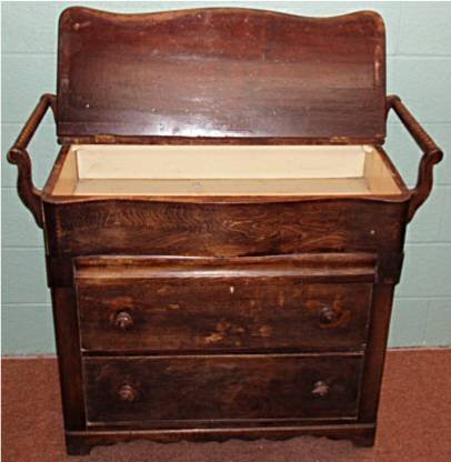1020: 1800's Double Towel Bar Lift Top Drysink Bureau,