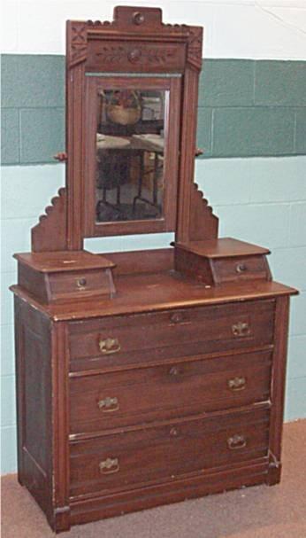 1064: Victorian Dresser with Wheel Cut Framed Mirror