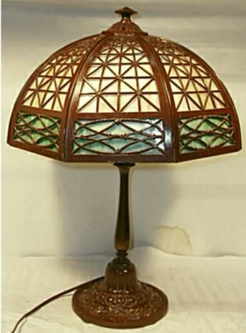 1021: Bradley & Hubbard Slag Glass Lamp