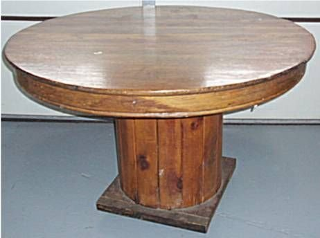 1137: Round Oak Table on Wire Spool Base, 45 Dia. X 30