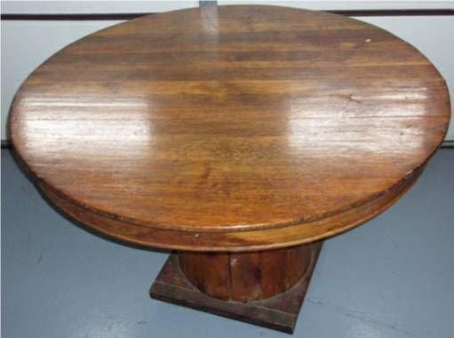 1137: Round Oak Table on Wire Spool Base, 45 Dia. X 30  - 2